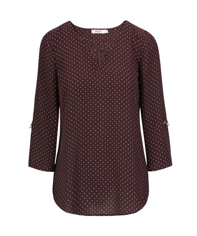 Rolled Sleeve Cross Neck Blouse, Port Print, hi-res