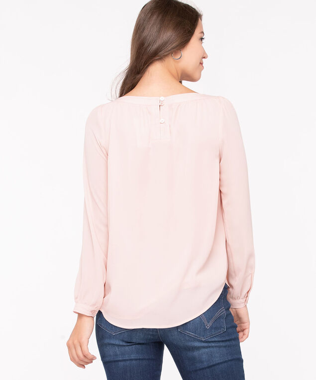Long Sleeve Boat Neck Blouse, Blossom, hi-res