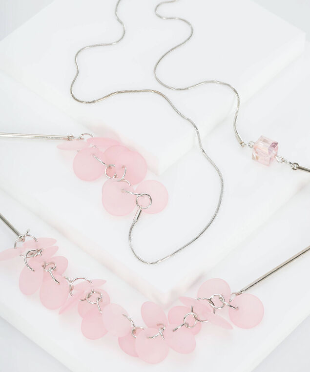 Stationed Bead Cluster Necklace, Cameo Pink/Rhodium, hi-res