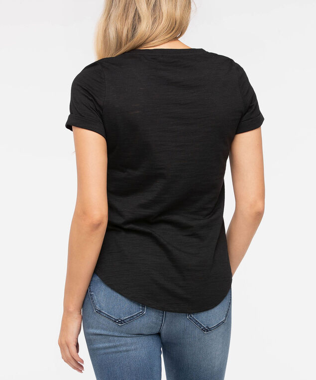 Short Sleeve Roll Cuff Slub Top, Black, hi-res