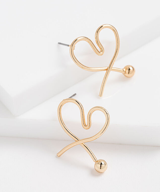 Open Metal Heart Earring, Gold