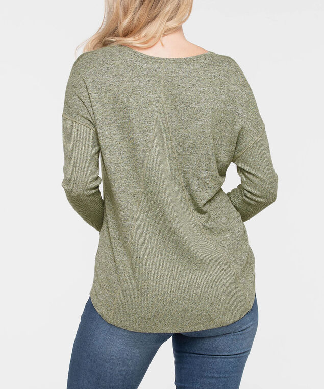 Long Sleeve Drop Shoulder Top, Light Sage, hi-res