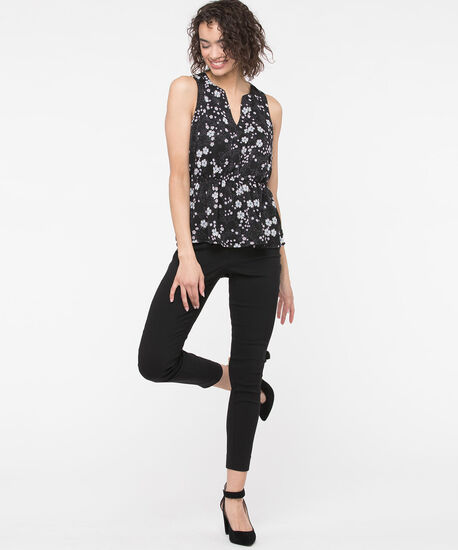 Sleeveless Floral Peplum Blouse, Black/Pearl/Blossom, hi-res