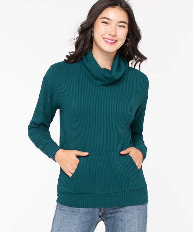 Soft Ribbed Cowl Neck Pullover, Teal, hi-res