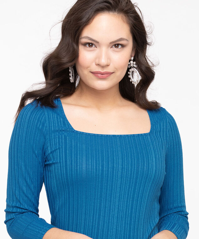 3/4 Sleeve Square Neck Top, Azure, hi-res