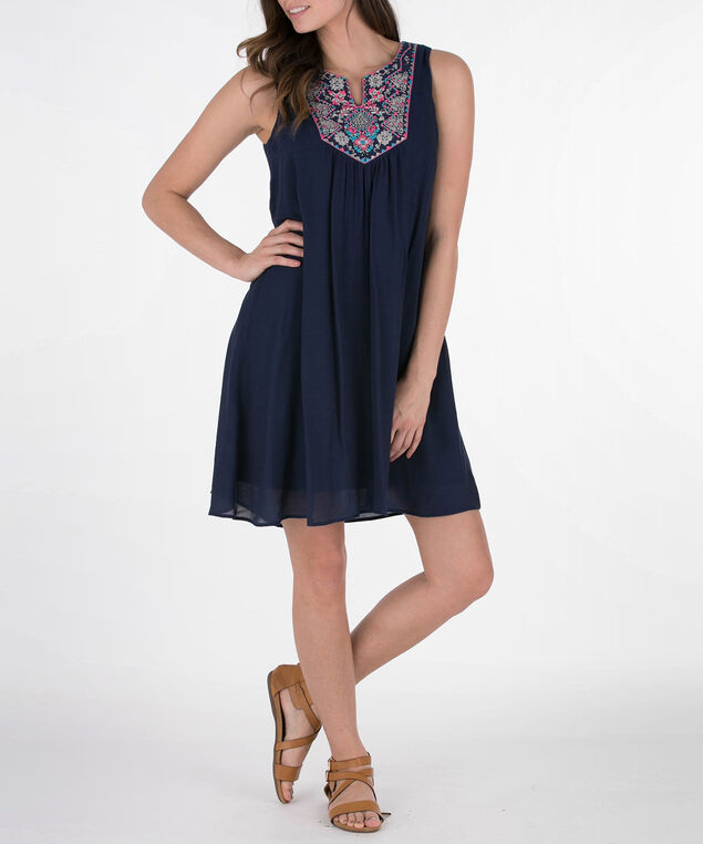 Sleeveless Embroidered Trim Gauze Dress, Deep Sapphire/Pink, hi-res