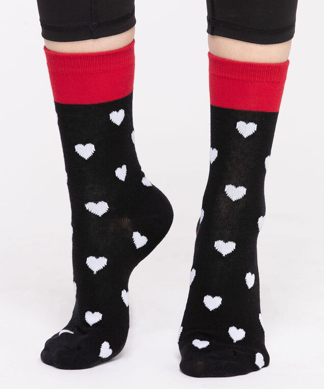 Heart Pattern Crew Socks, Black/Red/White Heart