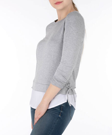 Side Lace-Up Fooler Top, Grey/White, hi-res