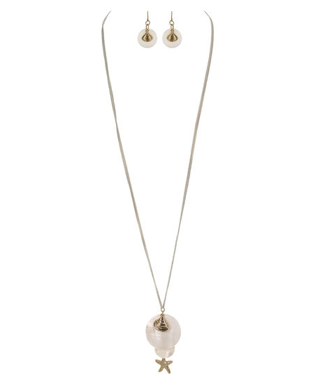 Shell & Starfish Necklace Set, White/Soft Gold, hi-res