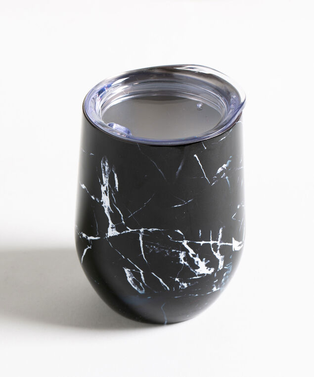 Patterned Insulated Wine Tumbler, Black Marble