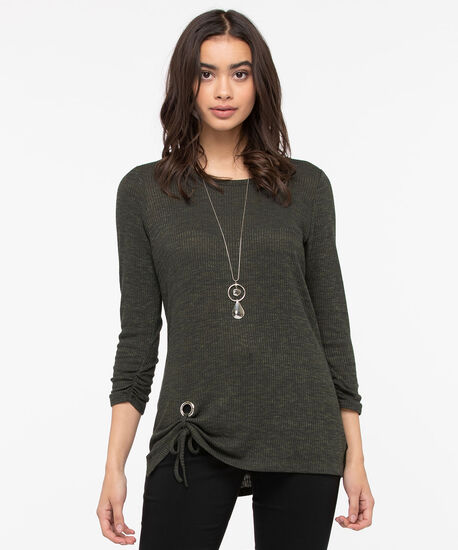 Side Tie Lightweight Knit Top, Pine, hi-res
