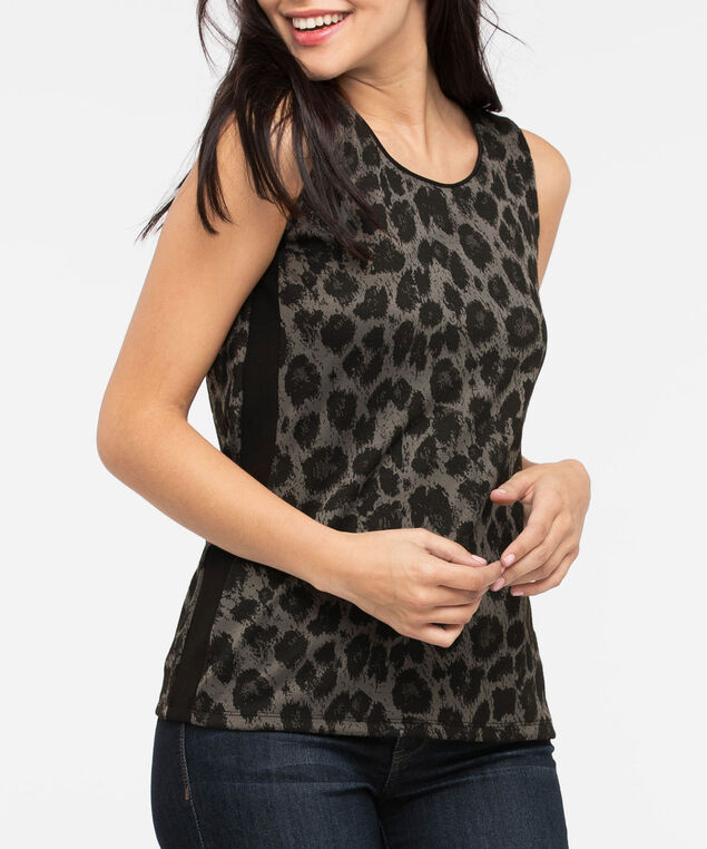 Sleeveless Animal Print Top, Black/Grey, hi-res