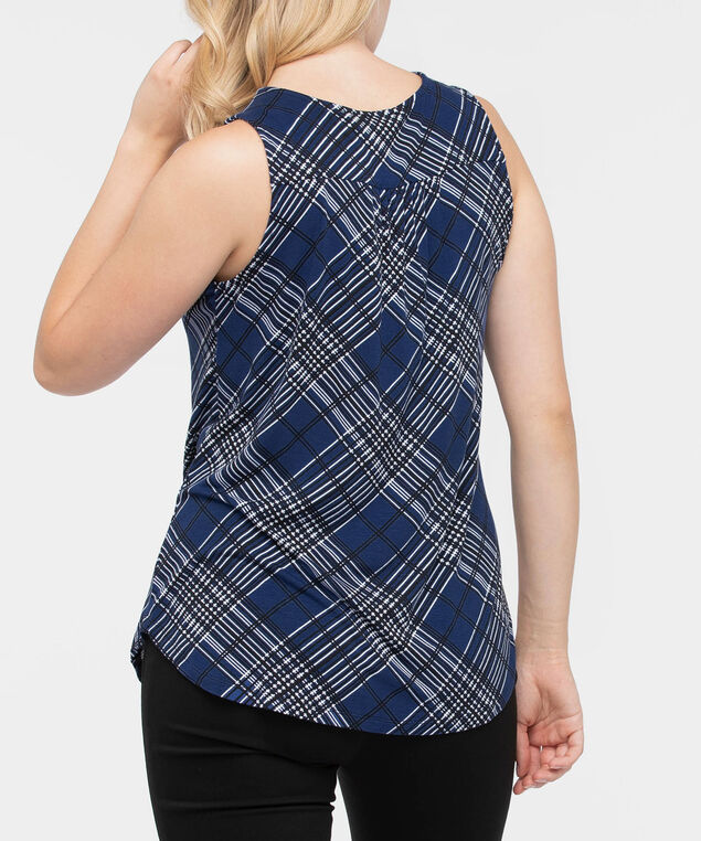 Sleeveless Smocked Neck Top, Deep Sapphire/Black/Pearl, hi-res
