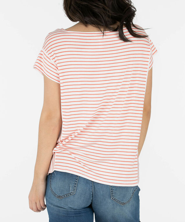 Striped Extended Sleeve Top, Coral/White, hi-res