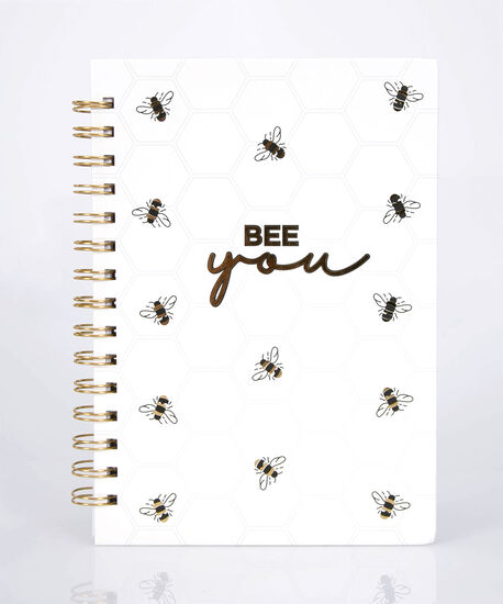 Bee You Spiral Notebook, Pearl/Black/Gold, hi-res