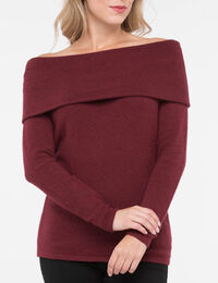 Off-the-Shoulder Cowl Neck Sweater
