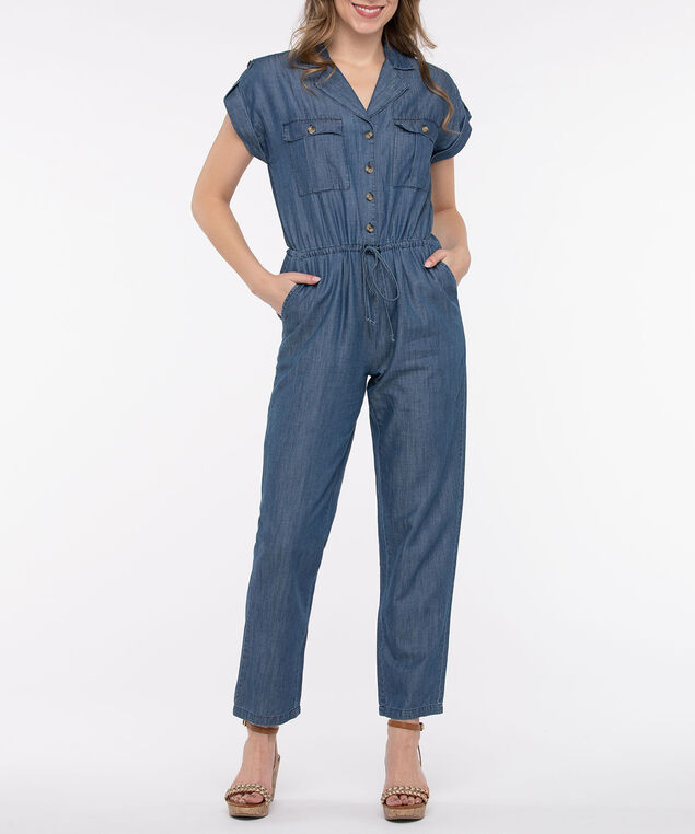 Short Sleeve Tencil Denim Jumpsuit, Light Wash, hi-res