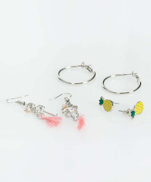 Earring Trio Set, Rhodium/Pastel Pink/Yellow, hi-res