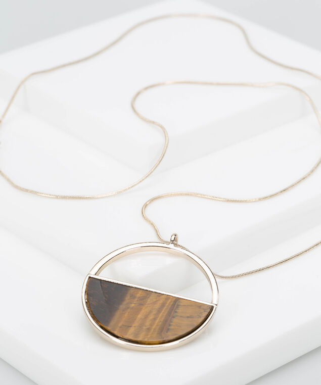 Wood Grain Ring Necklace, Gold/Espresso, hi-res