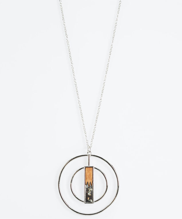 Wood & Double Circle Pendant Necklace, Rhodium/Almond, hi-res