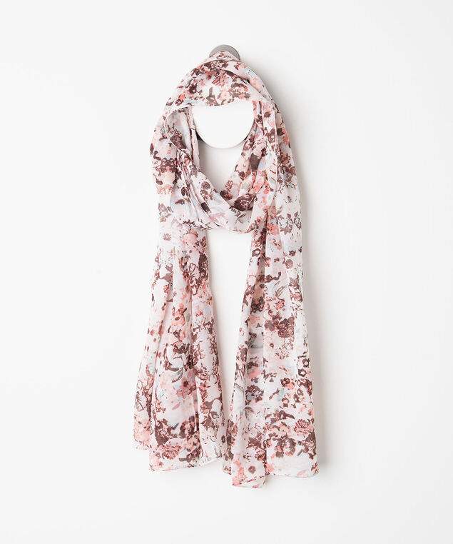 Abrstact Floral Print Oblong Scarf, Peach/Bellini/Sky Blue, hi-res