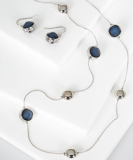 Stationed Faceted Stone Necklace Set, Blue Fog/Rhodium, hi-res