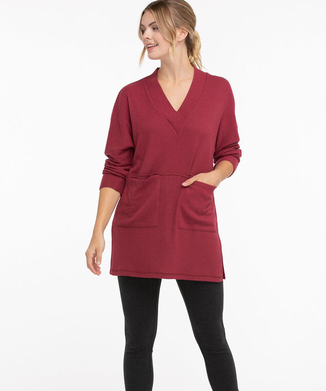 Split Neck Tunic Top, Rhododendron