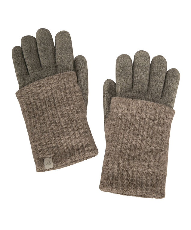 Contrast Cuff Chenille Lined Glove, Grey/Oatmeal, hi-res