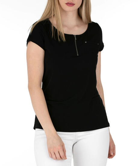 Short Sleeve Zip Front Top, Black, hi-res