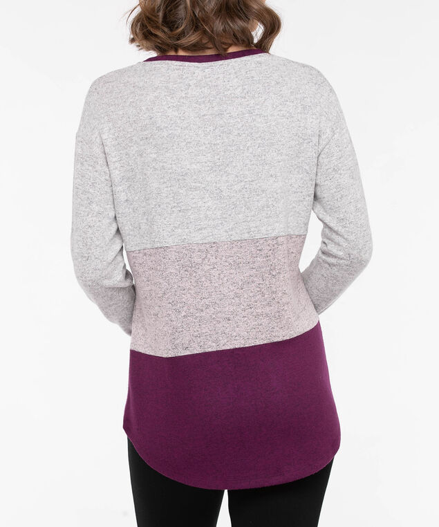 Long Sleeve Colourblock Pullover, Berry/Light Heather Grey/Dusty Blush, hi-res