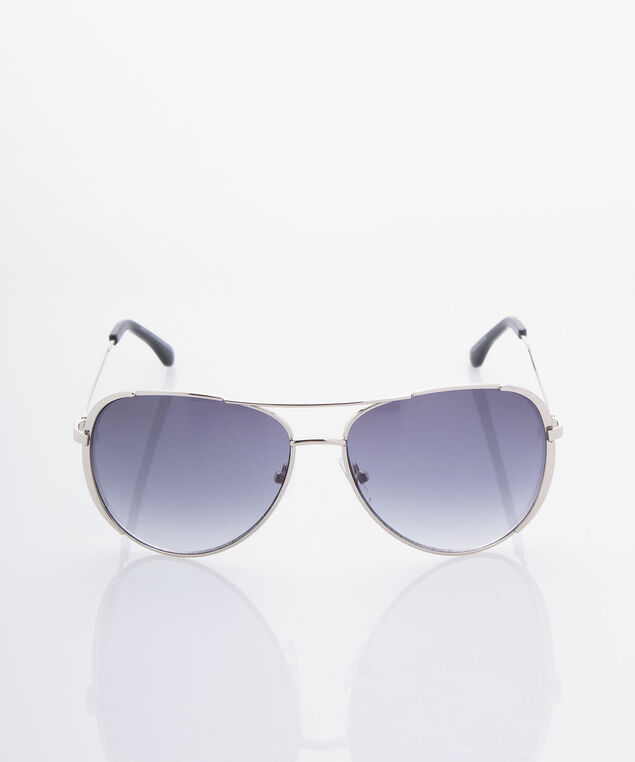 Silver Metal Aviator Sunglasses, Burnished Silver, hi-res