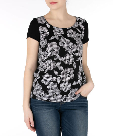 Floral Gingham Mixed Media Top, Black/White, hi-res