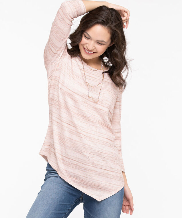 Asymmetric Hem Lightweight Knit Top, Rose Petal/Chili/Pearl, hi-res
