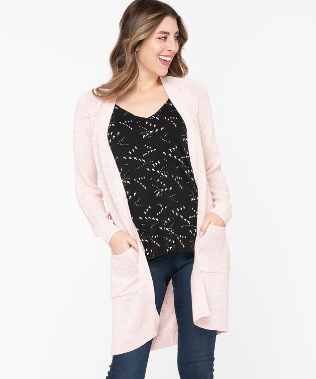 Longline Open Cocoon Cardigan, Heathered Pink, hi-res