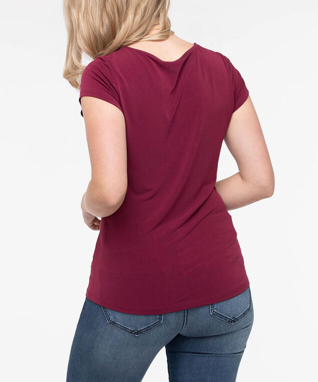 Short Sleeve Scoop Neck Top, Burgundy, hi-res
