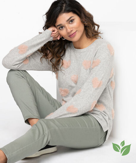 Eco-Friendly Heart Pattern Sweater, Light Grey/Misty Rose, hi-res