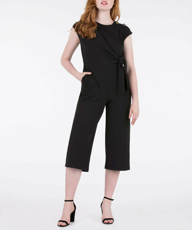 Button Shoulder Culotte Jumpsuit, Black, hi-res