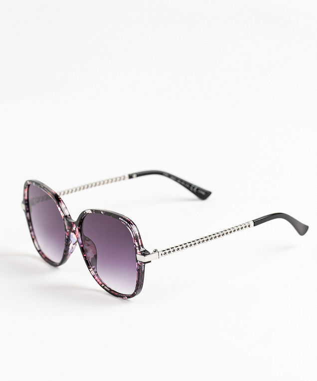 Pink Square Frame Chain Sunglasses, Floral/Silver
