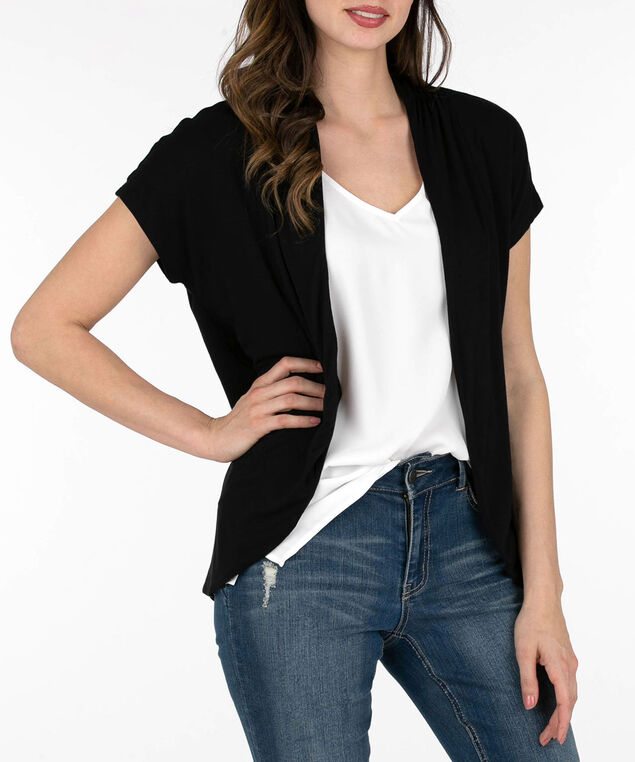 Short Sleeve Rounded Open Cardigan, Black, hi-res