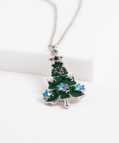 Christmas Tree Necklace, Silver, hi-res