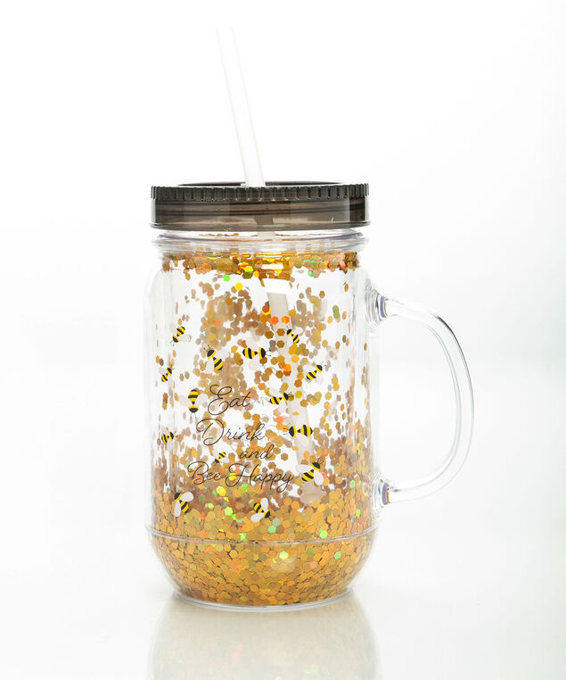 Bee Happy Plastic Mason Jar Cup, Clear/Black/Gold, hi-res