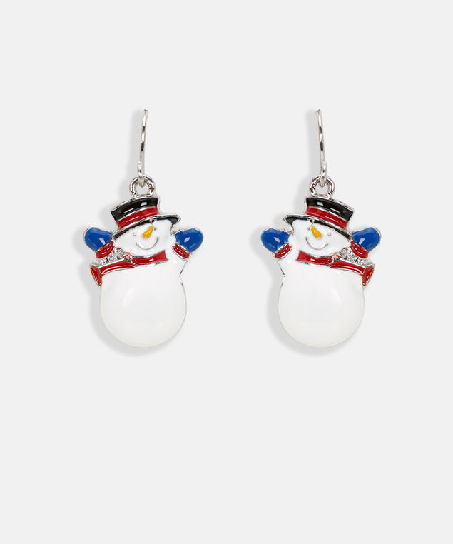 Holiday Snowman Earring, Black/Pearl/Rhodium, hi-res