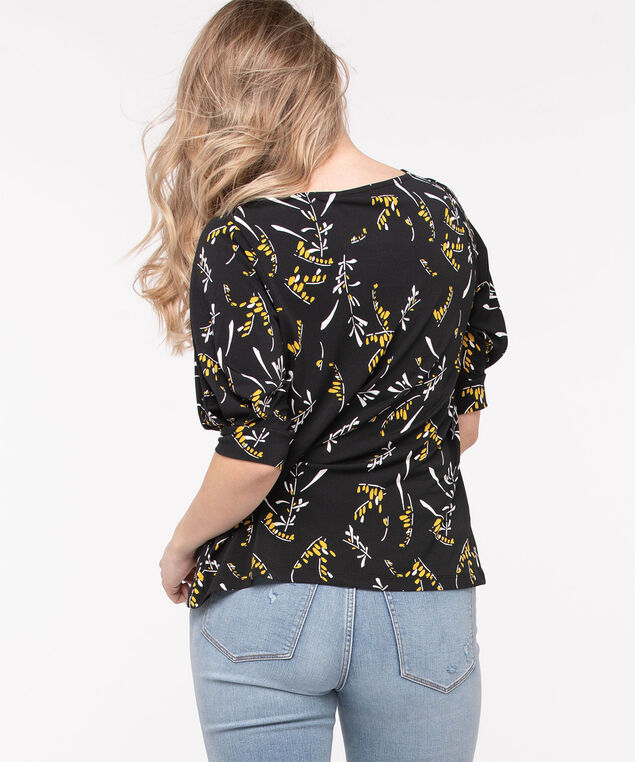 Balloon Sleeve Boat Neck Top, Black/Pearl/Gold