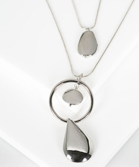 Metal Ring & Teardrop Pendant Necklace, Rhodium, hi-res