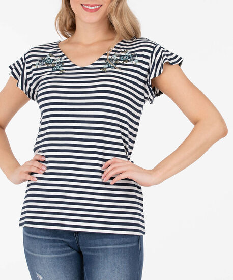 Ruffle Sleeve Ladder Back Top, Summer Navy/White, hi-res