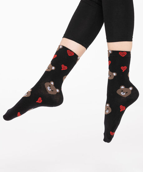 Festive Teddy Bear Socks, Black/Brown/Red, hi-res