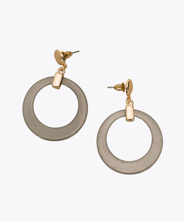 Grey Resin Hoop Earring, Grey/Soft Gold, hi-res