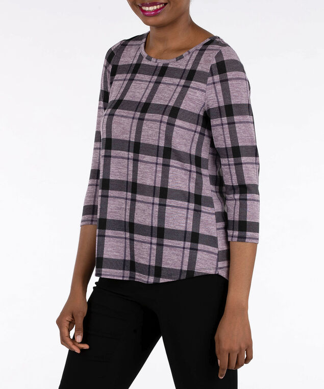 Plaid Flyaway Back Knit Top, Mauve/Black, hi-res