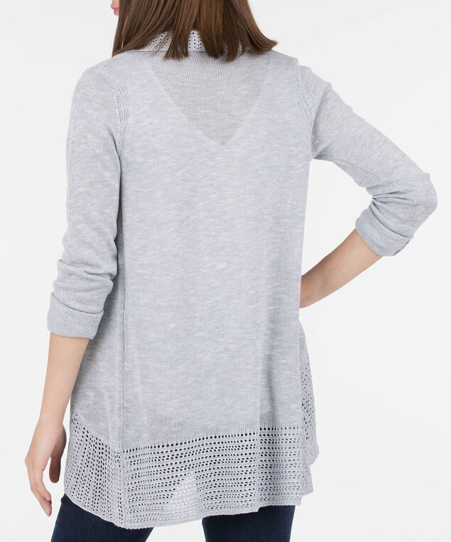 Pointelle Border Open Cocoon Cardigan, Silver Grey, hi-res