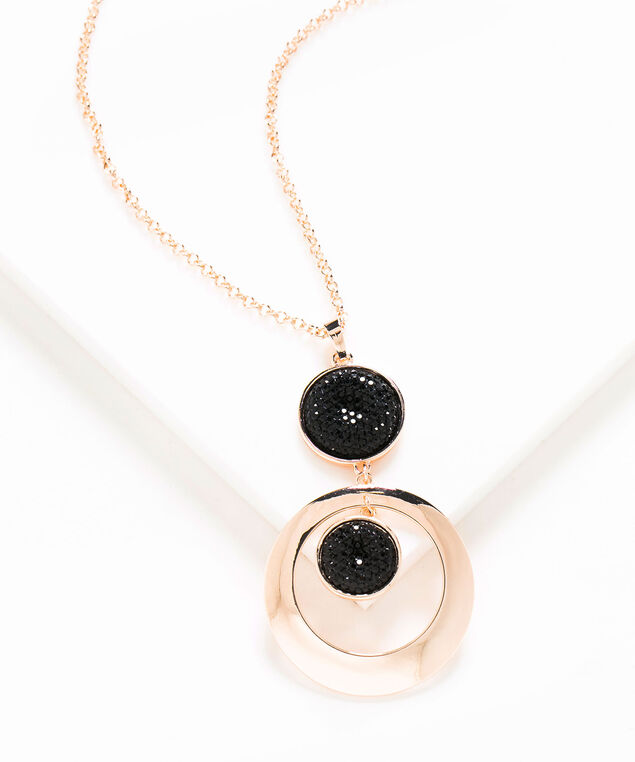 Black Glitz Long Pendant Necklace, Rose Gold/Black